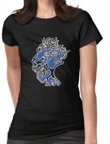 Flaming Head Blue  Womens Fitted T-Shirt
