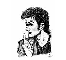 """The Doctor - David Tennant - """"Fingers on Lips!"""" Photographic Print"""