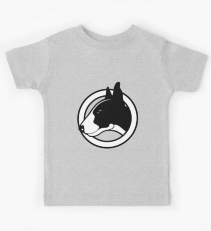 Black and White Bull Terrier Design  Kids Tee