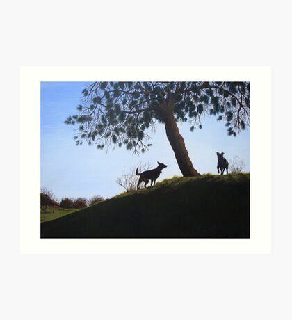Dogs in park snow landscape painting realist art   Art Print