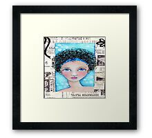 Whimiscal Girl with Curly Hair Framed Print