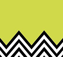 Zigzag Pattern, Chevron Pattern - Black Green by sitnica