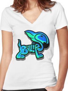 Bullies Letter Character Turquoise and Blue Women's Fitted V-Neck T-Shirt