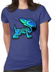 Bullies Letter Character Turquoise and Blue Womens Fitted T-Shirt