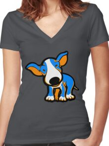 IrnBru English Bull Terrier Puppy  Women's Fitted V-Neck T-Shirt