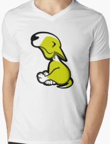 Innocent English Bull Terrier Puppy Yellow and White Mens V-Neck T-Shirt