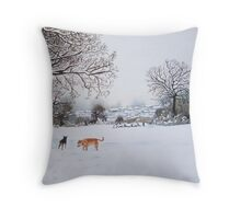 dog snow scene landscape with trees & rooftops art Throw Pillow