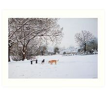 dog snow scene landscape with trees & rooftops art Art Print