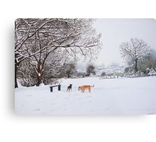 dog snow scene landscape with trees & rooftops art Metal Print