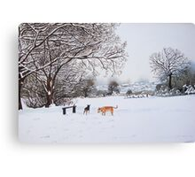 dog snow scene landscape with trees & rooftops art Canvas Print