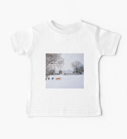 dog snow scene landscape with trees & rooftops art Baby Tee