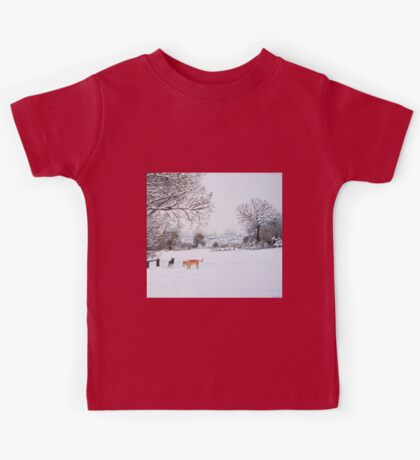 dog snow scene landscape with trees & rooftops art Kids Tee