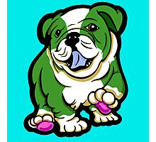 Happy Bulldog Puppy Green and White  Photographic Print