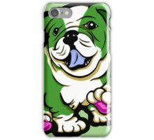 Happy Bulldog Puppy Green and White  iPhone Case/Skin
