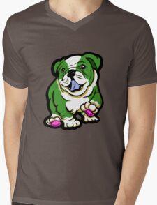 Happy Bulldog Puppy Green and White  Mens V-Neck T-Shirt