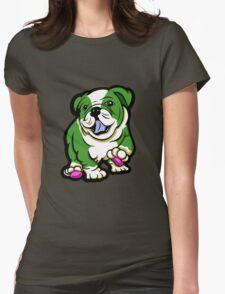 Happy Bulldog Puppy Green and White  T-Shirt