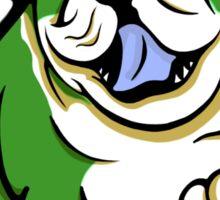 Happy Bulldog Puppy Green and White  Sticker