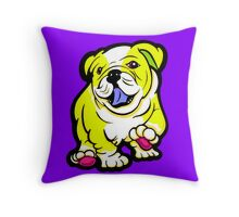 Happy Bulldog Puppy Yellow and White  Throw Pillow