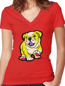 Happy Bulldog Puppy Yellow and White  Women's Fitted V-Neck T-Shirt