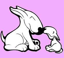 English Bull Terrier Mother's Day Love by Sookiesooker