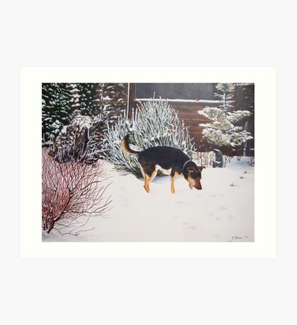 Winter snow scene with cute black and tan dog  Art Print