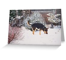 Winter snow scene with cute black and tan dog  Greeting Card
