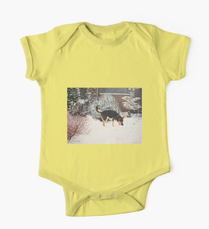 Winter snow scene with cute black and tan dog  One Piece - Short Sleeve