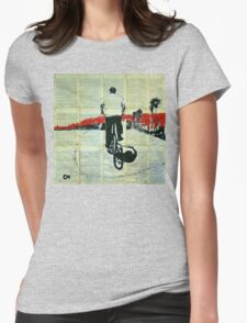 Cycling along the waterfront.  Womens Fitted T-Shirt