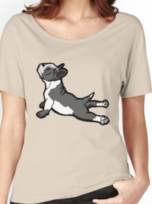 Boston Bull Terrier Puppy Black and White Women's Relaxed Fit T-Shirt