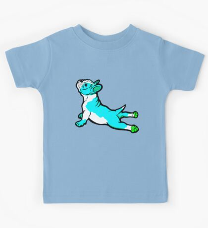 Boston Bull Terrier Puppy Blue Kids Tee