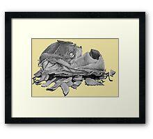 Humorous still life art drawing of dog slipper   Framed Print