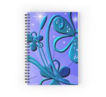 Blue Flower Sparkle Design Spiral Notebook