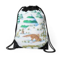 cute fox and rabbits christmas snow scene Drawstring Bag