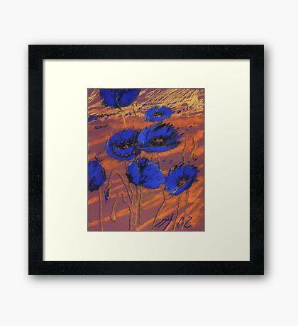 blauer Mohn Framed Print