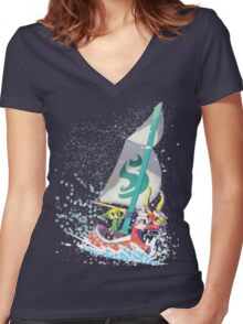 Voyaging ~ WindWaker Women's Fitted V-Neck T-Shirt