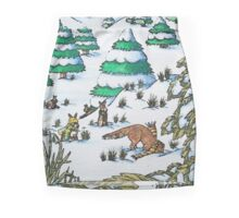 cute fox and rabbits christmas snow scene Mini Skirt