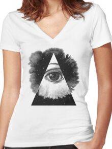 The Eye In The Sky Women's Fitted V-Neck T-Shirt