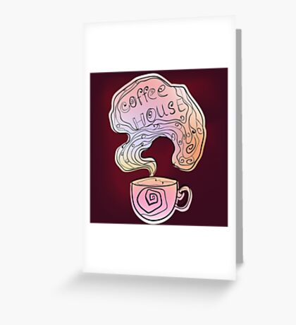 Coffee house doodling on burgundy background. Greeting Card
