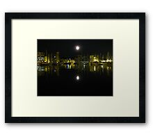 Full Moon Over Ipswich Waterfront  Framed Print