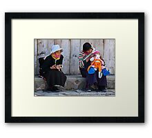 Lhamassery women. A dash of orange modernism Framed Print