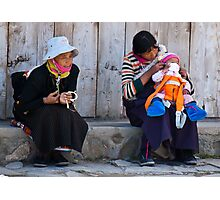 Lhamassery women. A dash of orange modernism Photographic Print