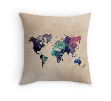 World Map cold World Throw Pillow