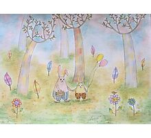 Bunnies in the Forest  Photographic Print