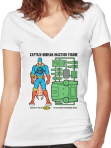Captain RibMan InAction Figure Women's Fitted V-Neck T-Shirt