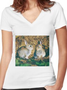 Baby rabbits  Women's Fitted V-Neck T-Shirt