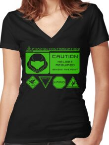 Cosmic Caution Women's Fitted V-Neck T-Shirt
