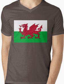 National flag of Wales - High Quality Authentic version Mens V-Neck T-Shirt