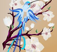 Blue Hummingbird and Cherry Blossoms by Lotacats