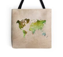 Green World Map ecology Tote Bag