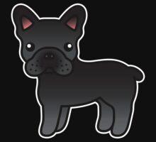 Black French Bulldog Dog Cartoon by destei